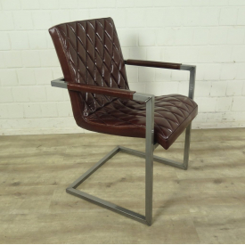 Chair Industrial Design Leather Red Brown
