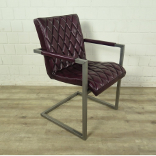 Stuhl Industrial Design Leder Bordeaux-Rot