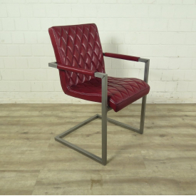 Chair Industrial Design Leather Dark red
