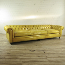 Chesterfield Sofa Couch Leder Gelb 3,20 m