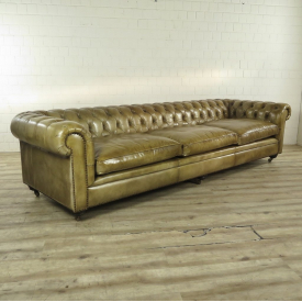 Chesterfield Sofa Couch Leder Lime 3,20 m