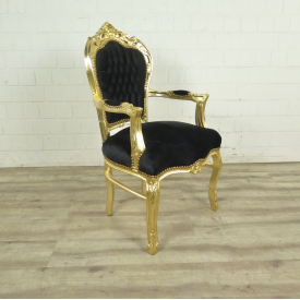 Baroque chair Black and gold