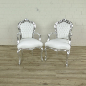 Set Baroque chairs PU-leather White silver