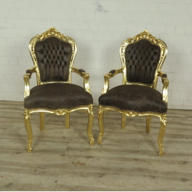 Set Baroque chairs Leather look Gold-Brown
