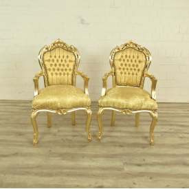 Set Baroque chairs Gold