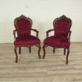 Set Baroque chairs fabric Dark red/brown