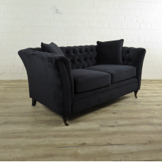Chesterfield Sofa Couch Samt Schwarz 1,60 m