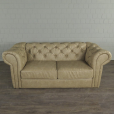 Chesterfield Sofa Couch Leder Beige 1,95 m