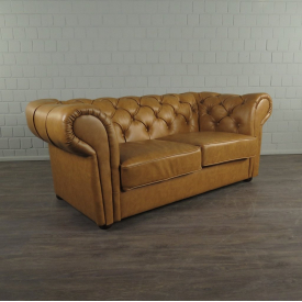 Chesterfield Sofa Couch Leder Cognac 1,85 m