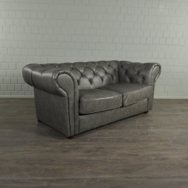 Chesterfield Sofa Couch Leder Grau 1,85 m