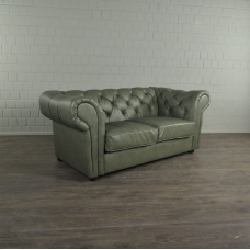 Chesterfield Sofa Couch Leder Lindgrün 1,85 m