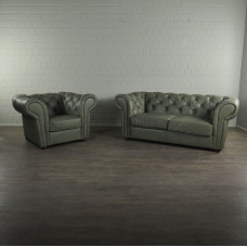 Chesterfield Set Couch & Sessel Leder Lindgrün 1,85 m