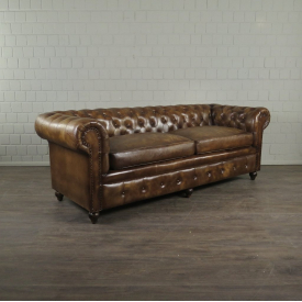 Chesterfield Sofa Couch Leder Antikbraun 2,15 m