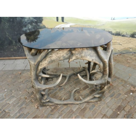 9627 Artificial antler table with glass plate 0.95 m