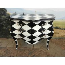 Barockkommode Schwarz-Weiß 1,18 m